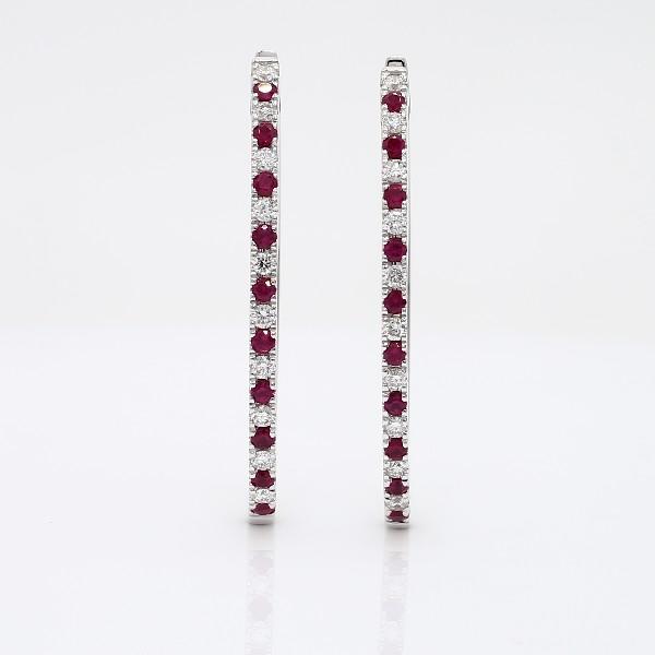 14k 白金红宝石和钻石椭圆形圈形耳环(1.4毫米)