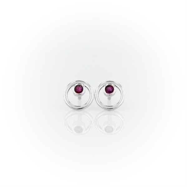 Petite Open Circle Ruby Birthstone Earrings in 14k White Gold (2mm)