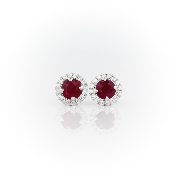 Ruby and Micropavé Diamond Halo Stud Earrings in 18k White Gold (5mm)