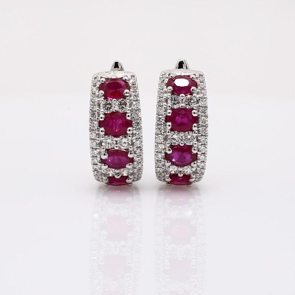 Créoles diamant et rubis en or blanc 14carats (4x3mm)