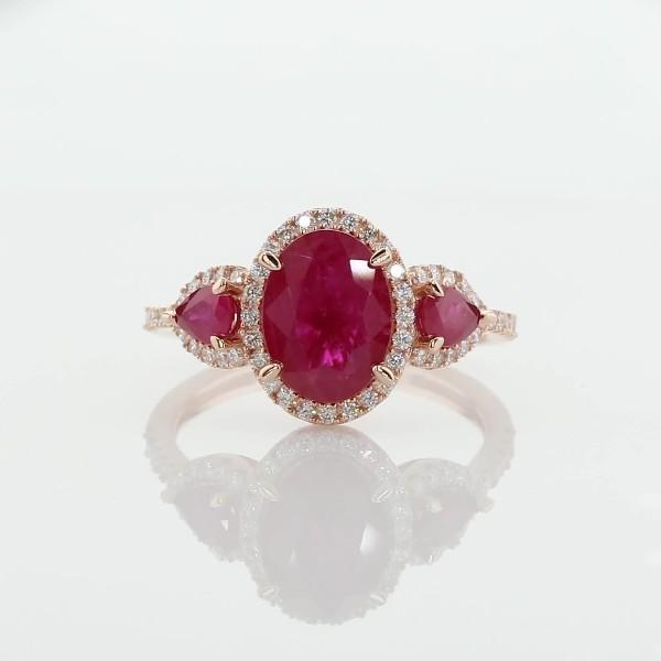 14k 玫瑰金紅寶石與鑽石光環三石戒指