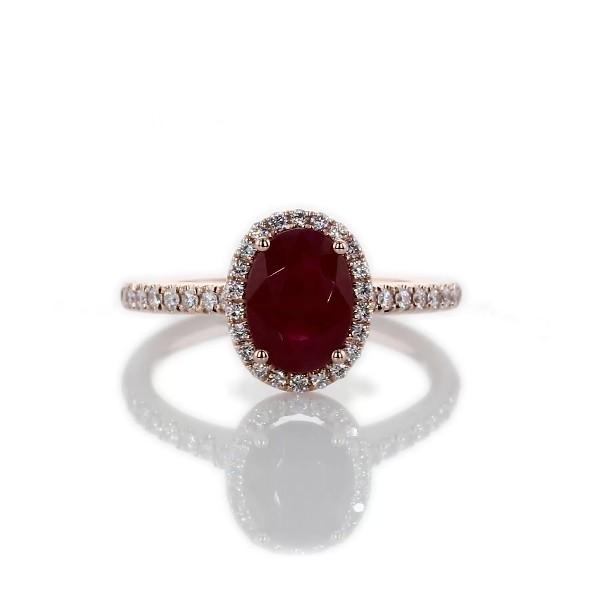 14k 玫瑰金椭圆形红宝石与圆形钻石光环戒指8x6毫米