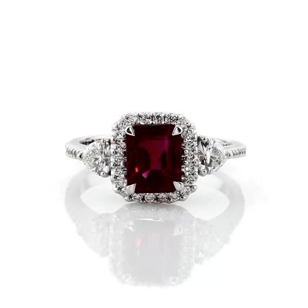 エメラルドカットルビーとハートダイヤモンドのリング (K18ホワイトゴールド)