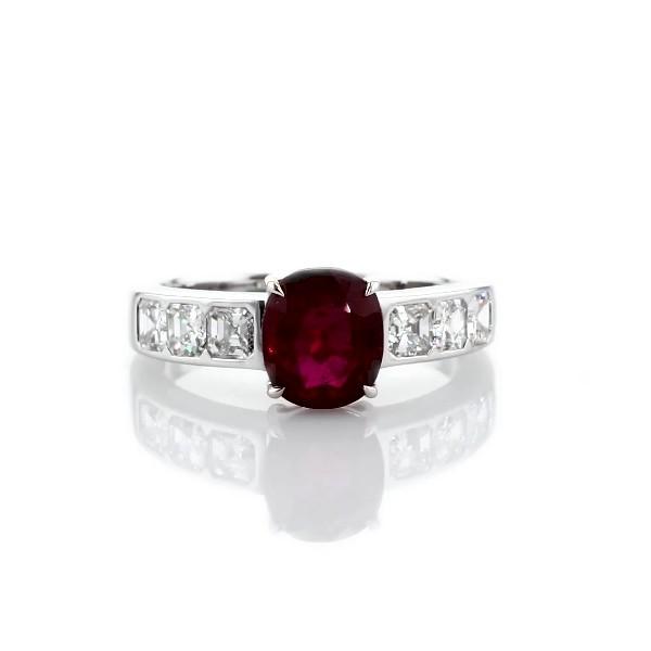 Bague diamants et rubis ovale en or blanc 18carats