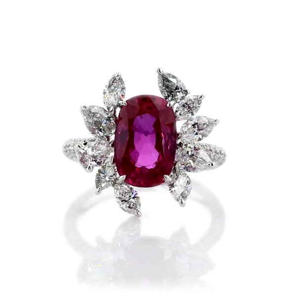 Cushion Cut Ruby and Floral Diamond Ring in 18k White Gold