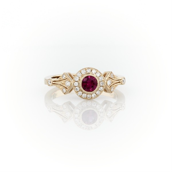 Ruby and Diamond Halo Vintage-Inspired Milgrain Ring in 14k Yellow Gold (4mm)