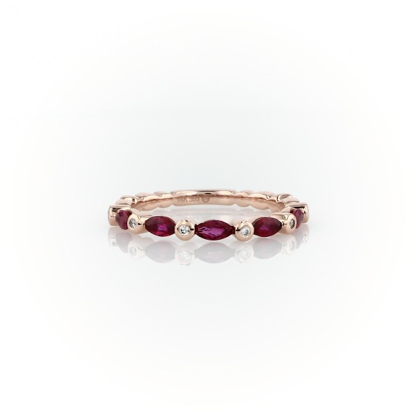 Marquise Ruby and Diamond Ring in 14k Rose Gold (4x2mm)
