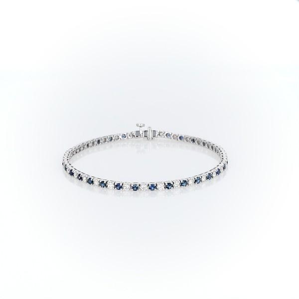 Bracelet diamants et saphirs Riviera en or blanc 14carats (2,2mm)