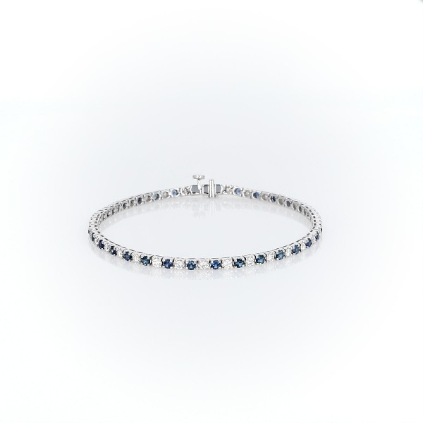 14k 白金 Riviera 蓝宝石钻石手链(2.2毫米)