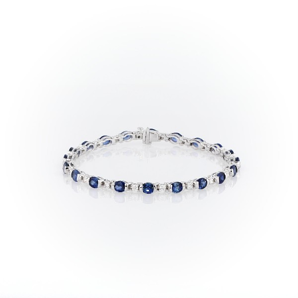 18k 白金橢圓藍寶石鑽石半包邊鑲手鍊(5x4毫米)