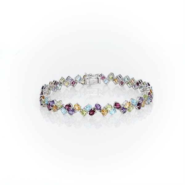 Two Row Multicolor Gemstone Bracelet in Sterling Silver (4x3mm)