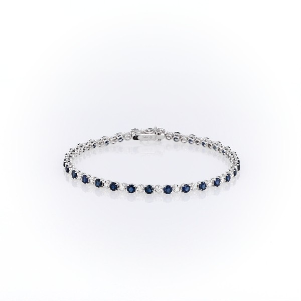 Alternating Size Sapphire & Diamond Bracelet- 14k White Gold (3mm)