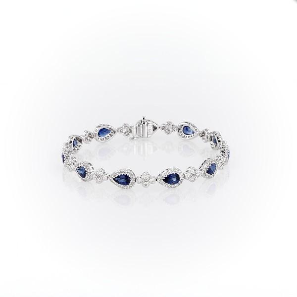 18k 白金椭圆蓝宝石密镶钻石手链(6x4毫米)