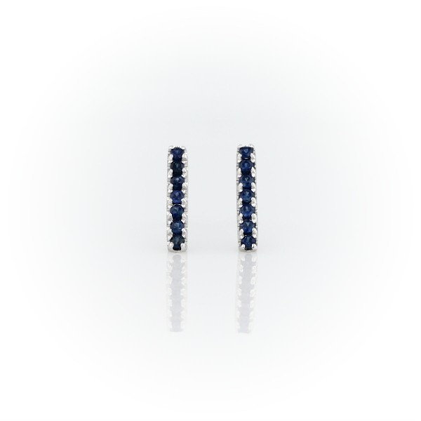 Petite Sapphire Pavé Bar Stud Earrings in 14k White Gold (1.5mm)