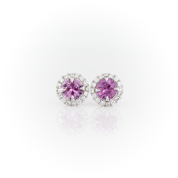 Pink Sapphire and Diamond Halo Earrings in 18k White Gold