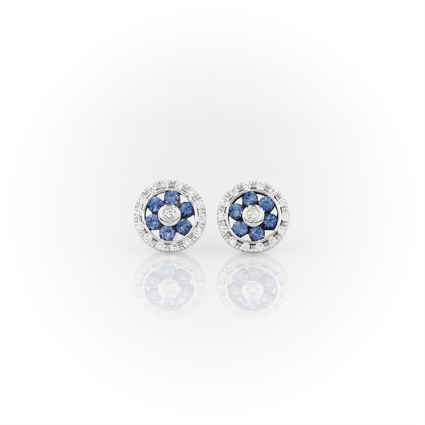 Sapphire and Diamond Floral Stud Earrings in 14k White Gold