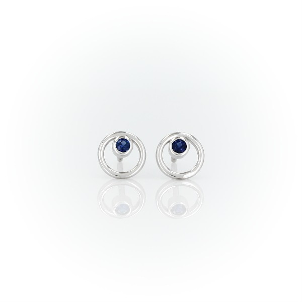 Petite Open Circle Sapphire Birthstone Earrings in 14k White Gold (2mm)