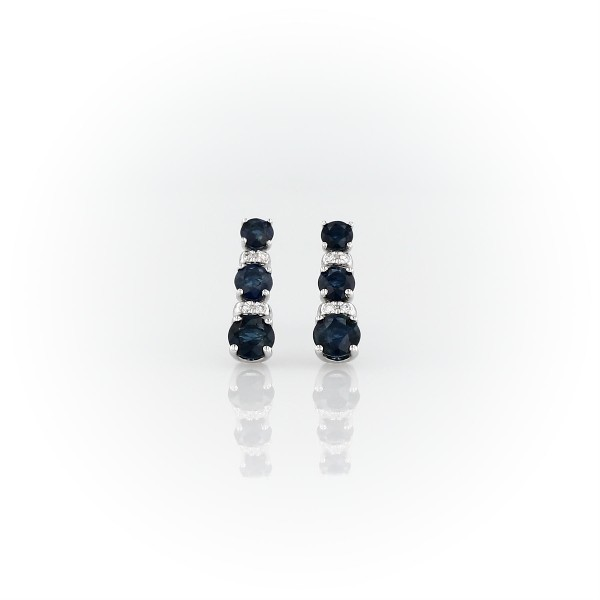 Petite Sapphire and Diamond Tower Earrings in 14k White Gold