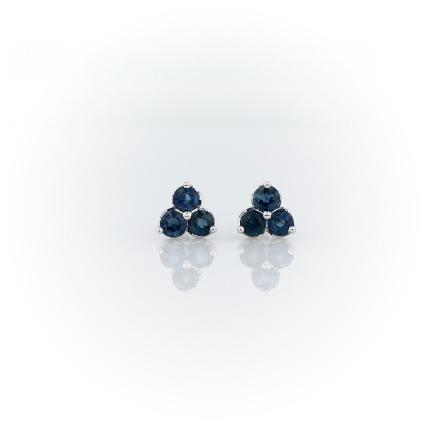 Petite Sapphire Trio Cluster Earrings in 14k White Gold (2.6mm)