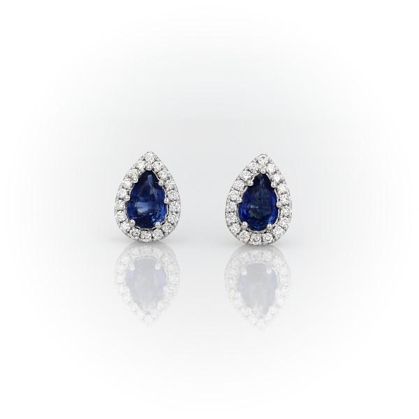14k 白金梨形蓝宝石钻石光环耳钉(5x4毫米)