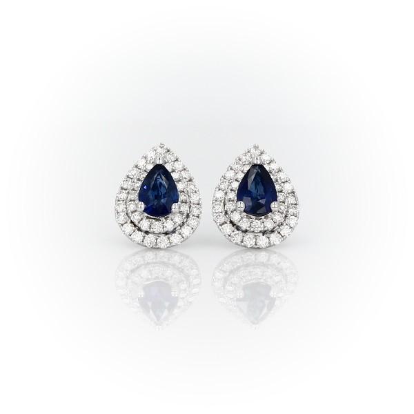 Aretes con doble halo de zafiros y diamantes en oro blanco de 18 k (6x4mm)