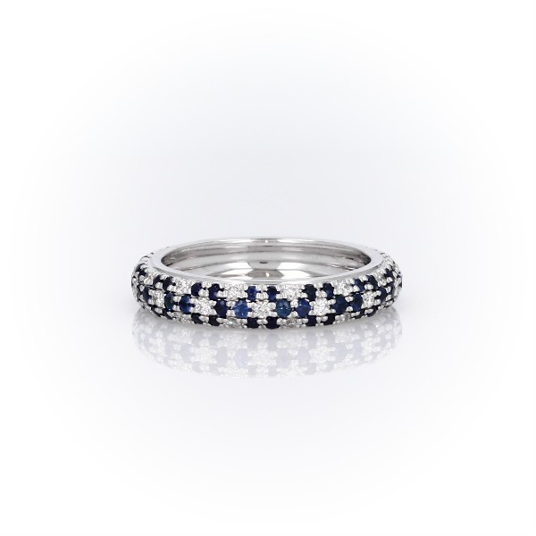 Sapphire and Diamond Pavé Floral Eternity Ring in 18k White Gold