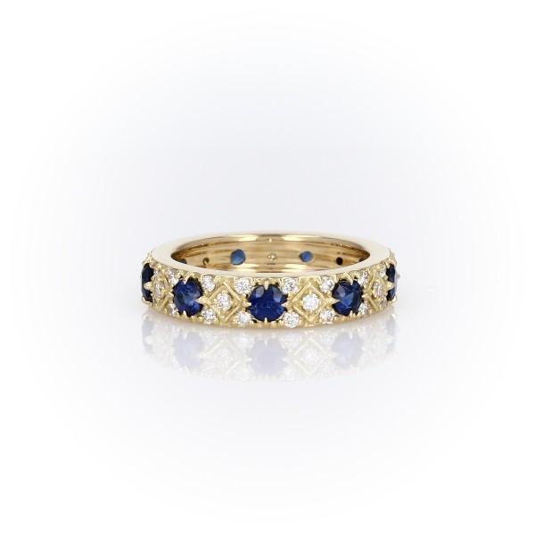 Starlight Sapphire and Diamond Eternity Ring in 18k Yellow Gold