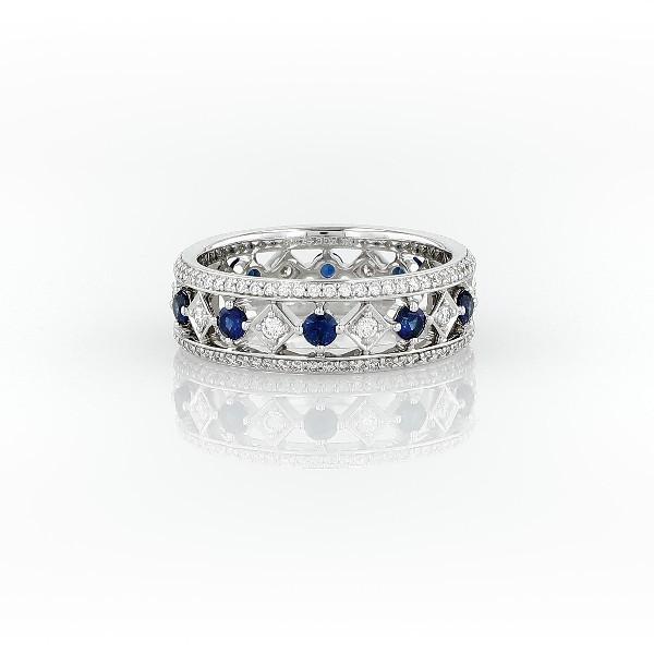 18k 白金盛会蓝宝石与钻石永恒戒指