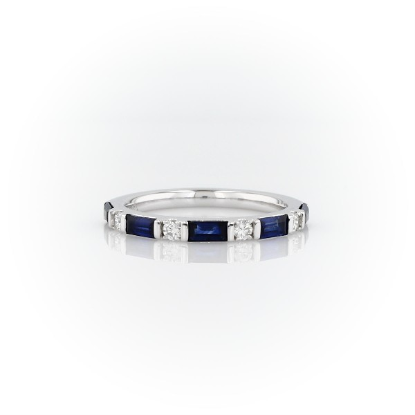 Baguette Sapphire and Diamond Ring in 18k White Gold (4x2mm)