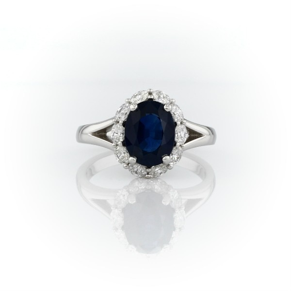 Oval Sapphire Ring with Oval Diamond Halo in Platinum (9x7mm)