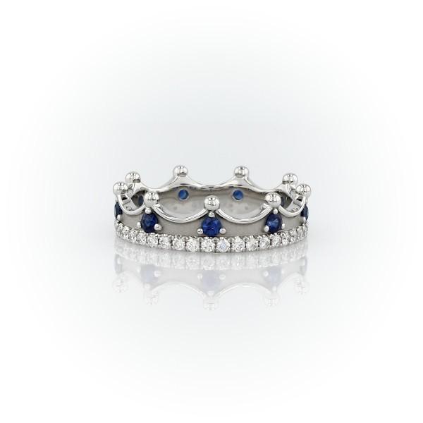 鉑金藍寶石與鑽石皇冠戒指(2毫米)
