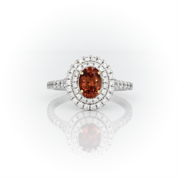 Oval Orange Sapphire Ring with Double Diamond Halo in 18k White and Yellow Gold (7x5mm)