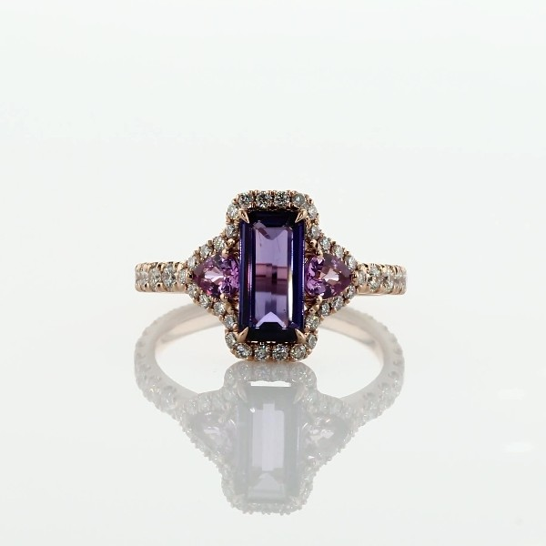 Pink and Purple Sapphire Three Stone Diamond Halo Ring in 18k Rose Gold