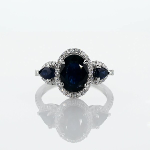Sapphire and Diamond Halo Three-Stone Ring in 14k White Gold