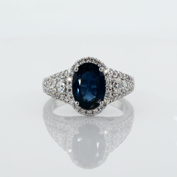14k 白金橢圓藍寶石鑽石戒指