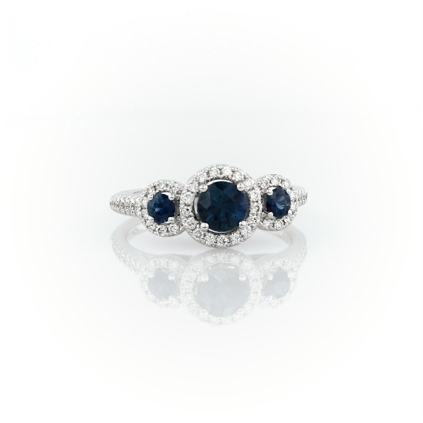 Isola Sapphire and Diamond Three Stone Ring in 14k White Gold