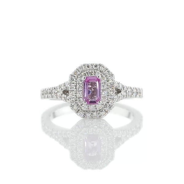 Emerald Cut Pink Sapphire Double Halo Ring in 14k White Gold (5x3mm)