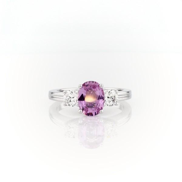 18k 白金椭圆形粉红蓝宝石钻石戒指(8x6毫米)