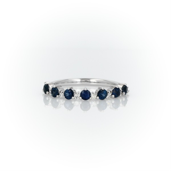 Sapphire and Diamond Tiara Stacking Ring in 14k White Gold (2.5mm)