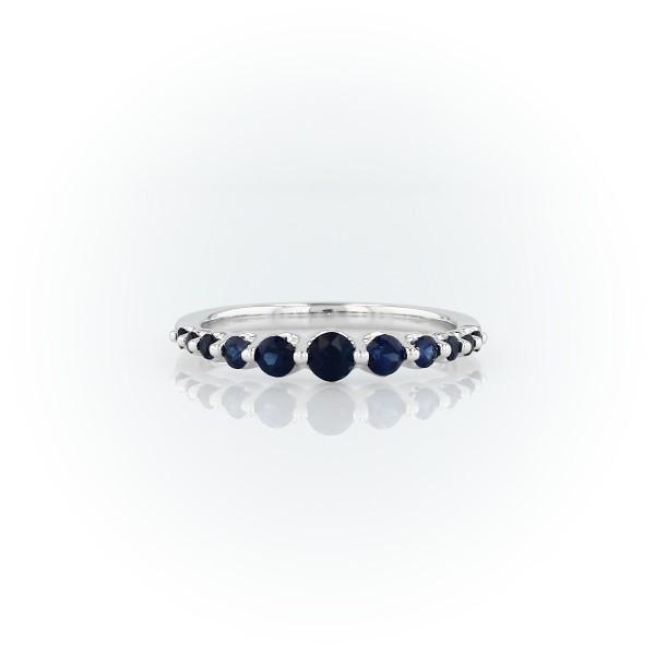 14k 白金浮动蓝宝石戒指(1.4毫米)