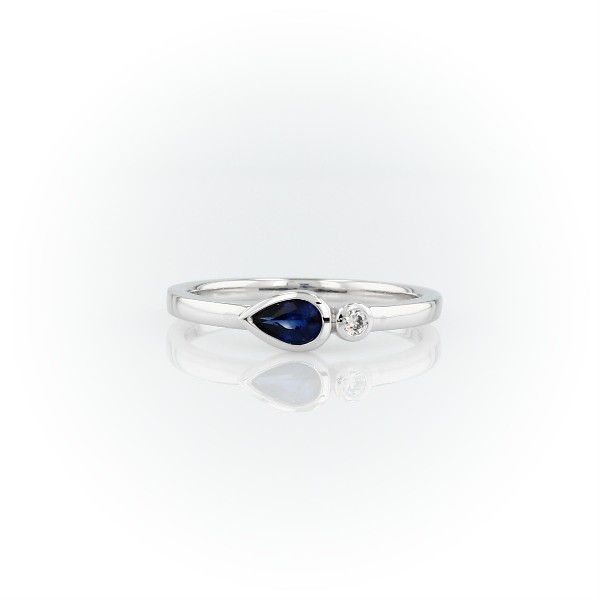 Bezel-Set Pear-Shaped Sapphire and Diamond Stacking Ring in 14k White Gold (3x5mm)