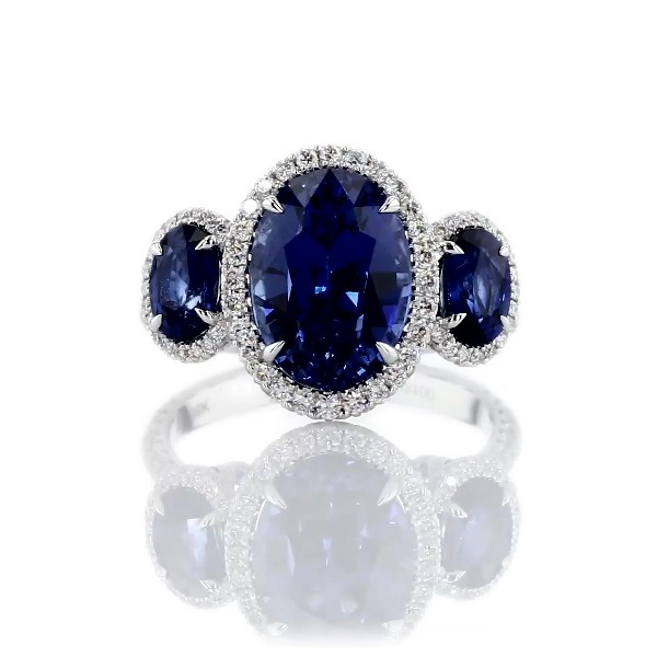 Three Stone Sapphire and Diamond Ring in 18k White Gold