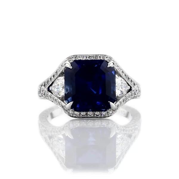 18k 白金蓝宝石和钻石对戒