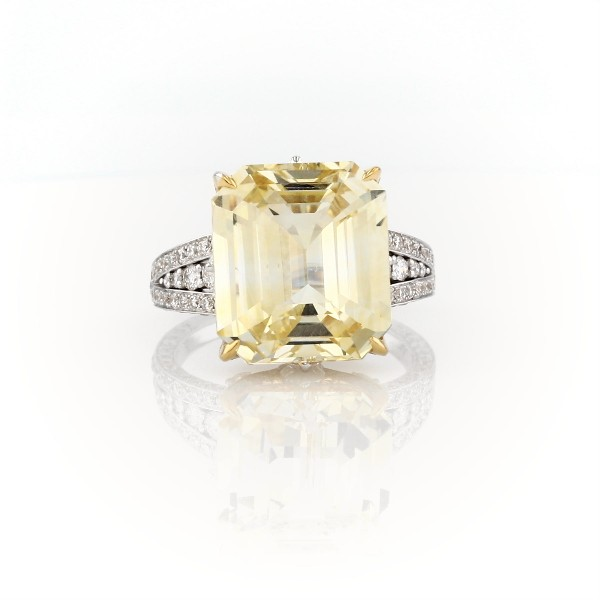 Emerald-Cut Yellow Sapphire and Diamond Ring in 18k White and Yellow Gold (12.03 ct. tw. centre)