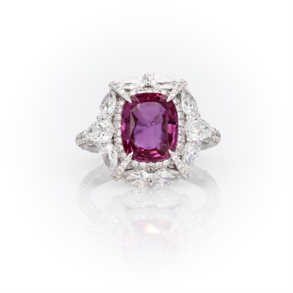 Radiant-Cut Pink Sapphire Ring with Pear-Shaped Diamond Halo in 18k White Gold (6.57 ct. center)