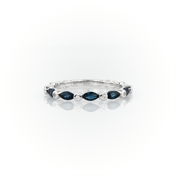 Marquise Sapphire and Diamond Ring in 14k White Gold (4x2mm)