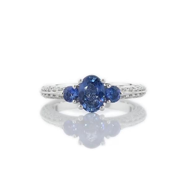 14k 白金蓝宝石和钻石三石戒指