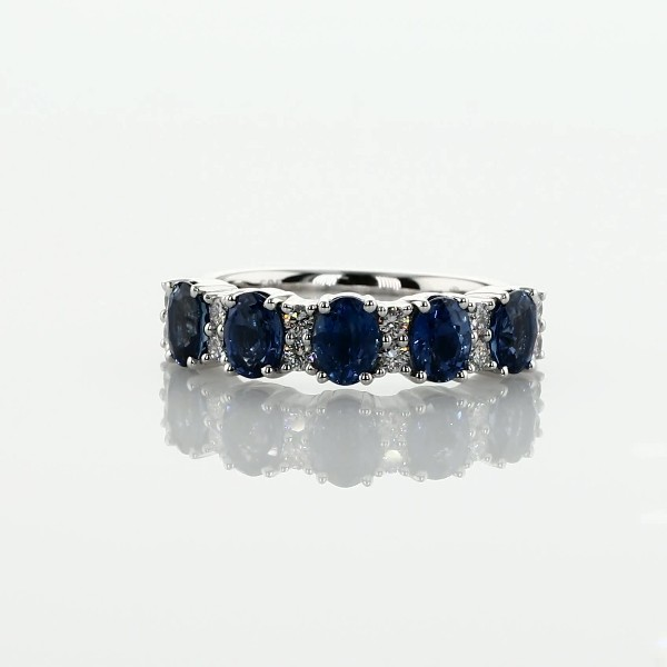 Sapphire and Diamond Five-Stone Ring in 14k White Gold