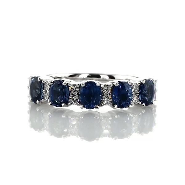 14k 白金藍寶石與鑽石五石戒指