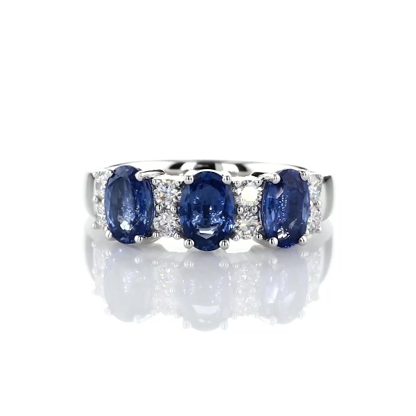 Sapphire and Diamond Three-Stone Ring in 14k White Gold